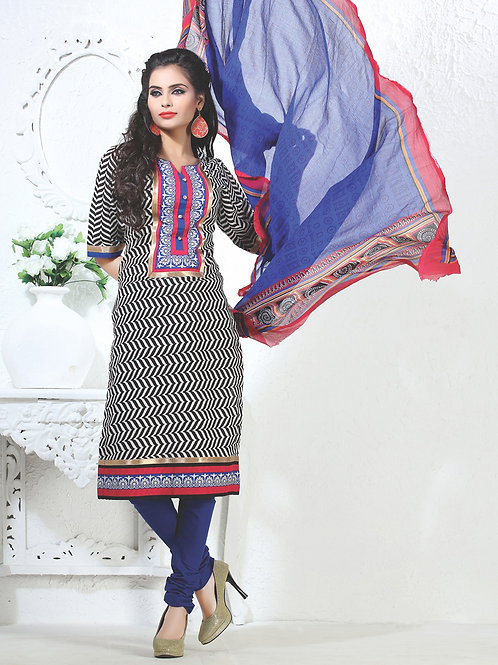 12Black White and Blue Cotton Party Wear/Daily Wear Straight Suit