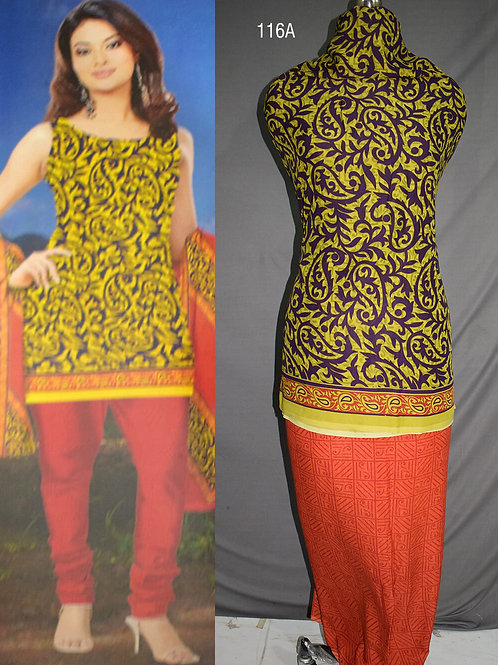 116A Yellow and Purple Printed Salwar Suit