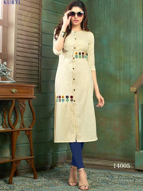 14005 Off White Designer Stitched Kurti