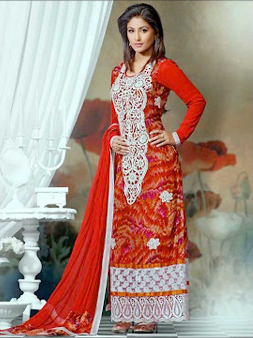 10902Red and White Soft Chiffon Straight Suit