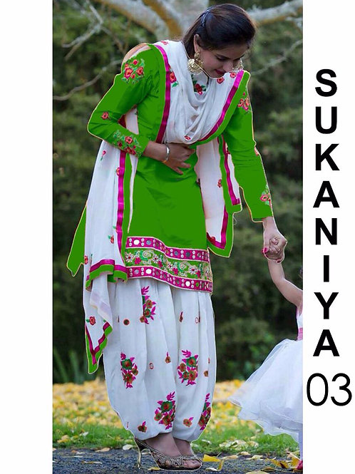 03 Parrot Green Designer Patiala Replica Suit