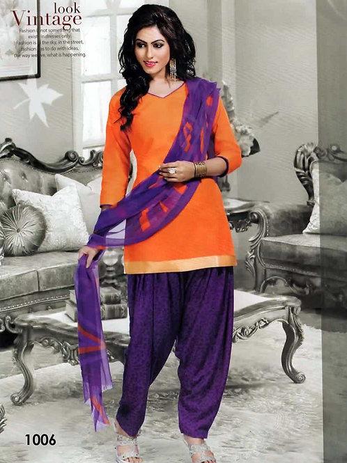1006 Saffron Colored Mix Cotton Patiala Suit