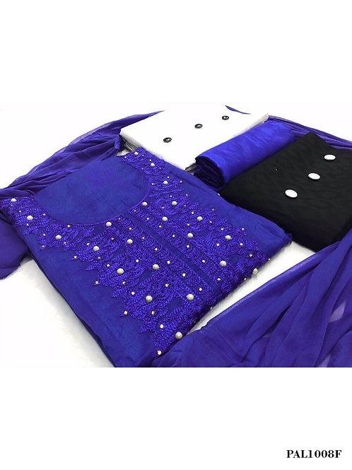1008F Navy Blue Designer Unstitched Salwar Suit