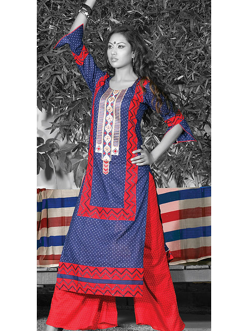 0948B Royal Blue and Red Cotton Palazzo Suit
