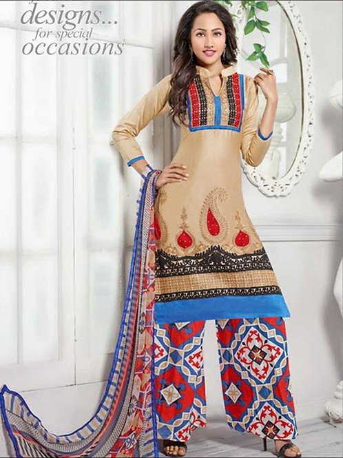 1383Beige and Multicolor Daily Wear Cotton Plazzo Suit