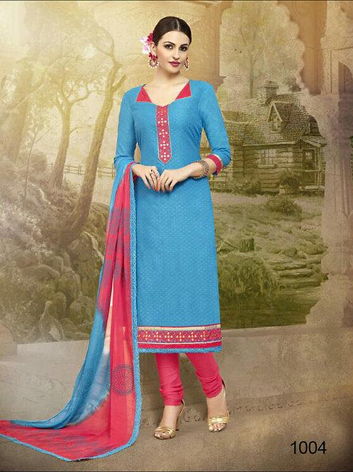 1004Firozi Blue Designer Un-stitched Straight Suit