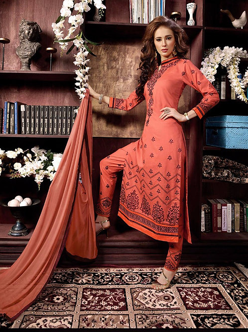 1007CarrotOrange and Brown Cotton Party Wear Straight Suit