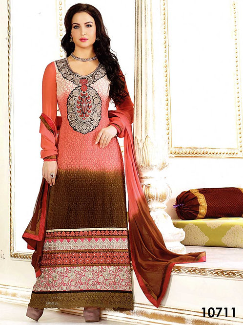 10711 Carrot Pink and Dark Brown Straight Suits
