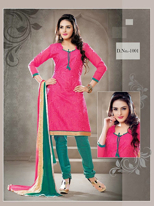 1001 Pink and Teal Green Chudidar Suit