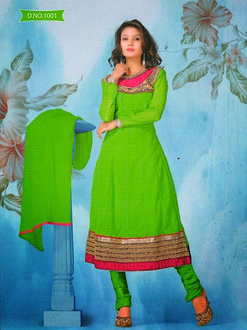1001 Deep Pink and Parrot Green Georgette Anarkali Suit
