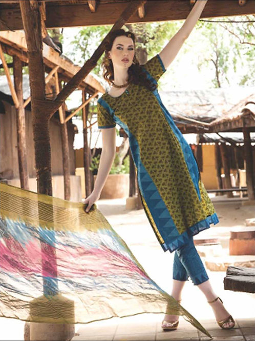 0841A Yellow and Blue Satin Cotton Straight Suit