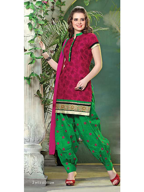 110 Violet Red and Green Cotton Patiyala Suit