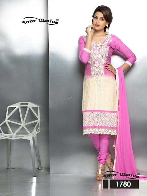 1780 Bright Pink and Ivory Party Wear Nazneen Straight Suit