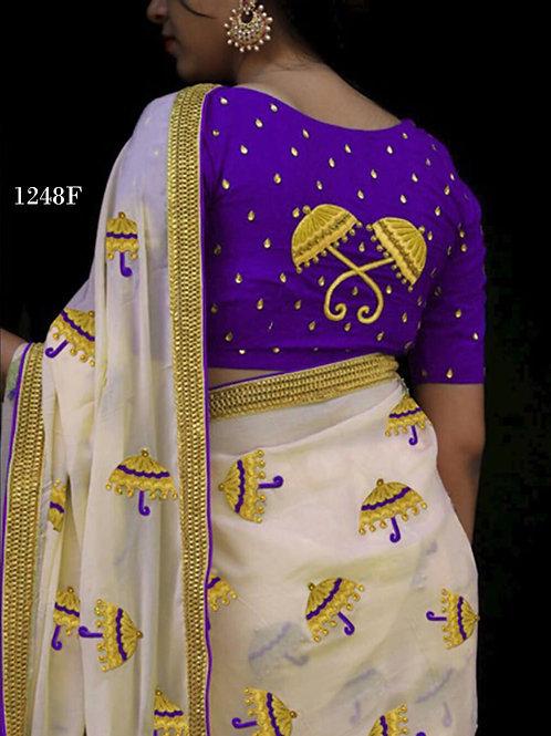 1248F Cream and Indigo Blue Designer Chanderi Silk Saree