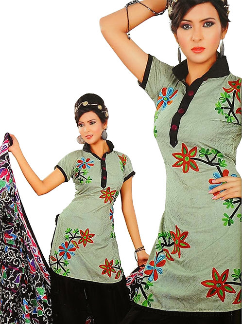 1320Aqua Green and Black Salwar Suit