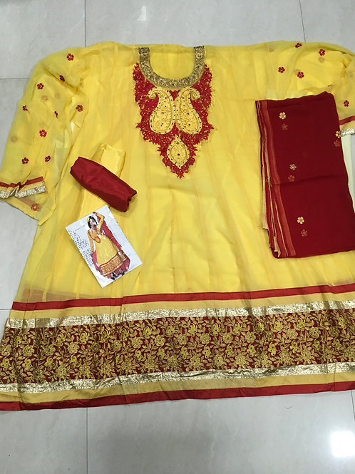 1005 Yellow And Red Georgette Anarkali Suit