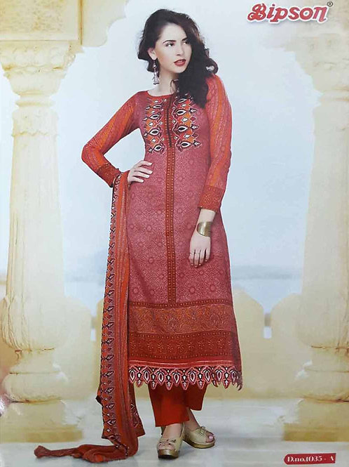1035A Red Cotton Straight Suit