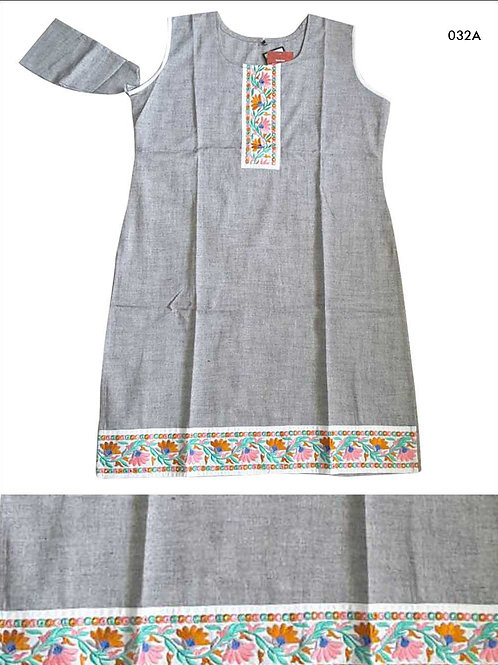 032A Gray Designer Cotton Kurtis