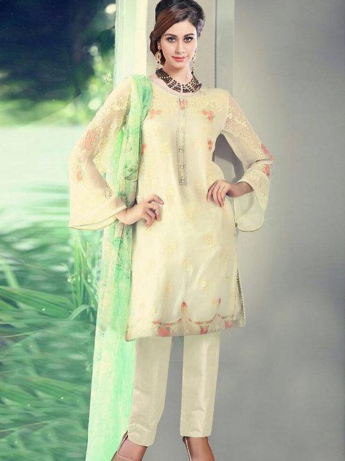 12005Ivory Party Wear Georgette Pakistani Suit