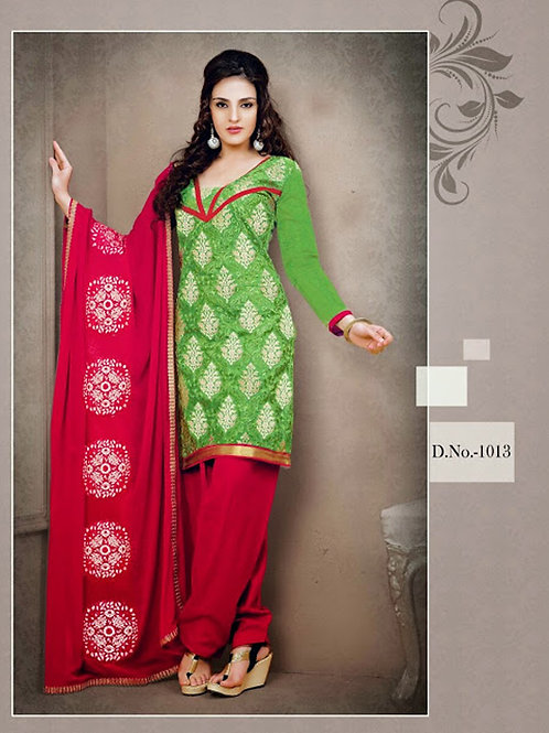 1013 Green and Red Chudidar Suit