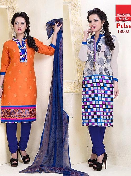 18002 Designer Orange and White Salwar Suit