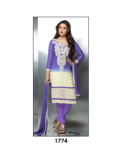 1774 Purple and Ivory Party Wear Nazneen Straight Suit