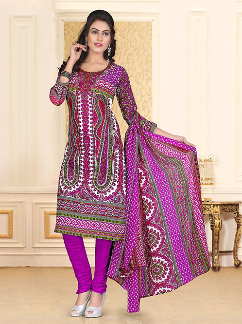 1005White and Magenta and Green Chudidar Suit