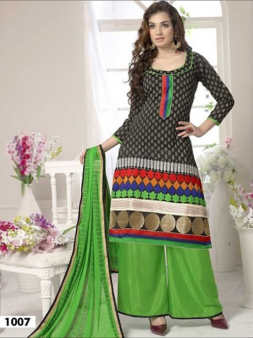 1007 Black and Parrot Green Designer Palazzo Suit