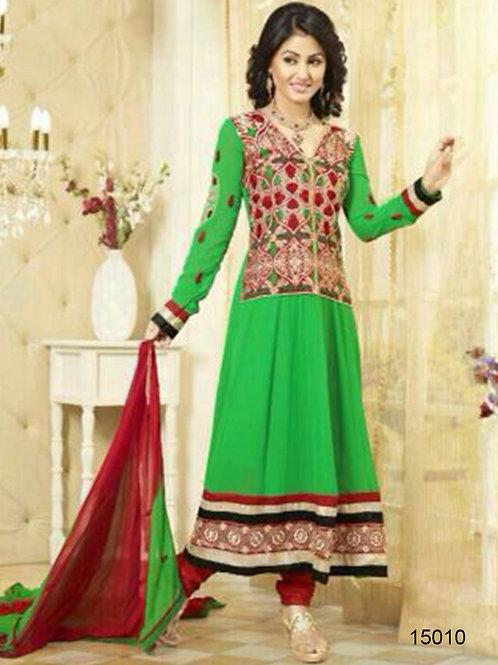 15010 Green and Dark Red Georgette Anarkali Suit