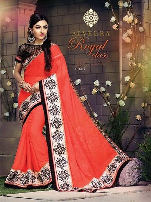 1495Tomato Red Designer Georgette Saree