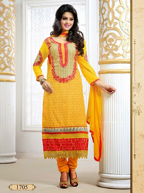 1705 Yellow and Red Georgette Straight Suit