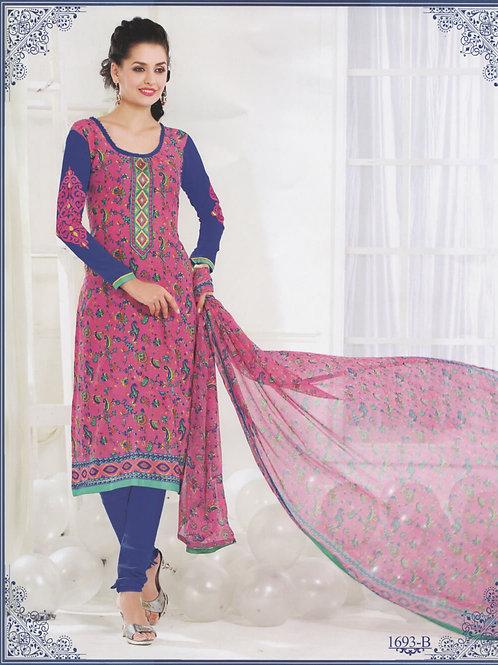 1693B Magenta and Blue Cotton Salwar Suit