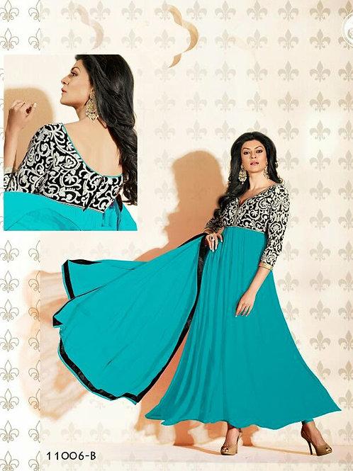 11006B Sea Blue and Black Anarkali Suit
