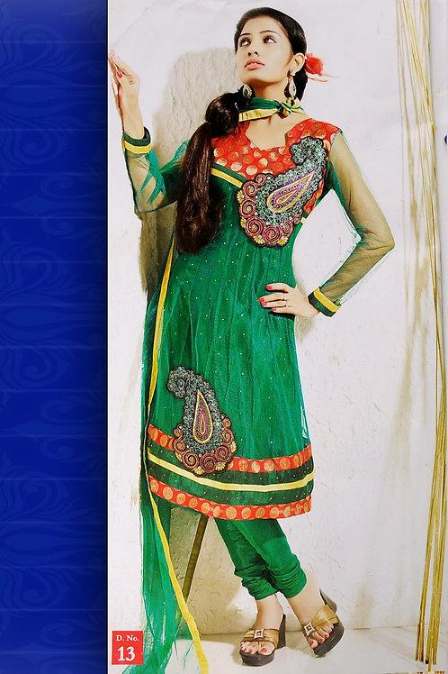 13Orange and Green Net Anarkali Suit