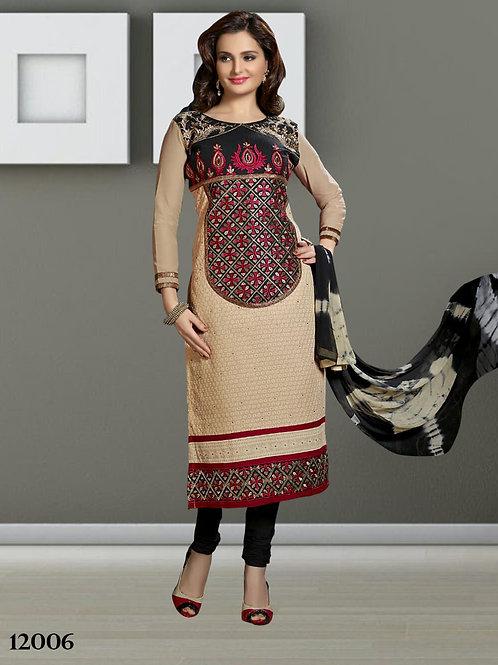 12006 Khaki Designer Straight Suit