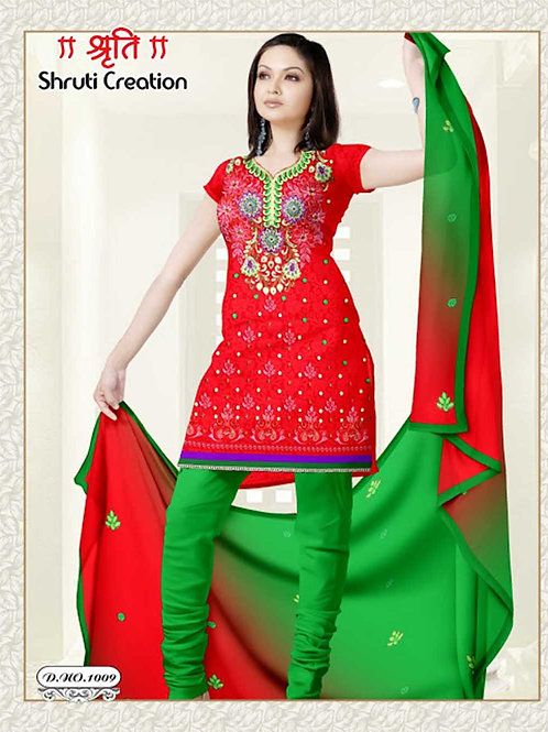 1009 Red and ParrotGreen Jacquard Dress Material