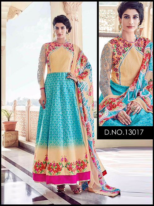 13017 Electric Cyan Designer Anarkali Suit
