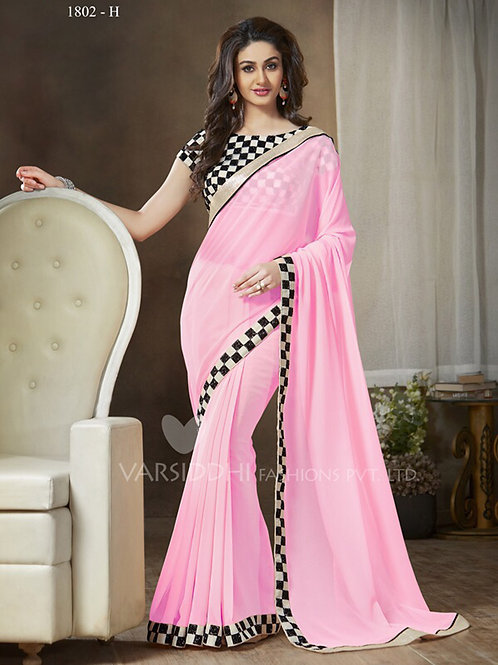 1802H LightPink and Black Party Wear Georgette Saree