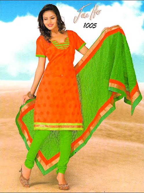 1005FantaOrange and ParrotGreen Chanderi Chudidar Suit
