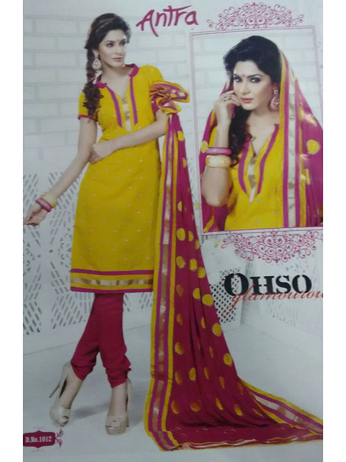 1012Yellow and DeepPink Daily Wear Brasso Salwar Suit