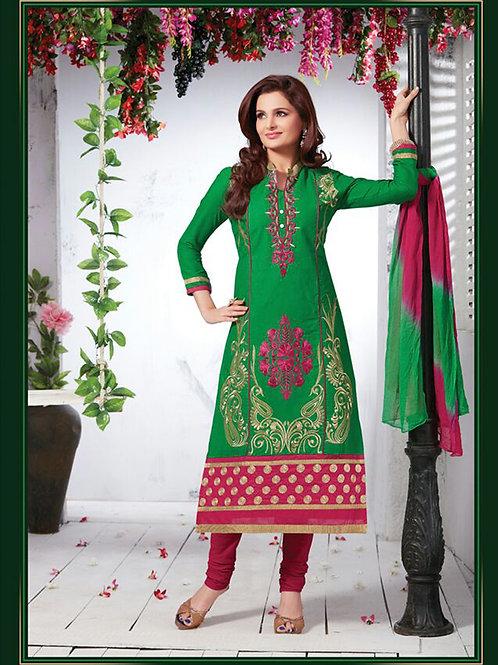 1108 Green and Dark Magenta Cotton Straight Suit