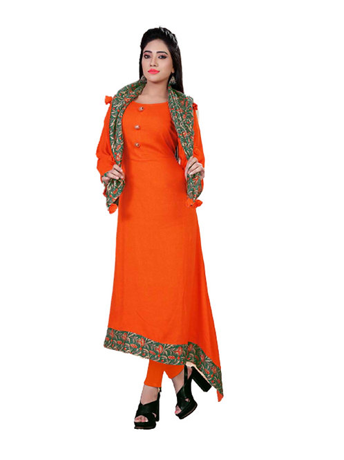 1027 Fanta Orange Designer Kurtis