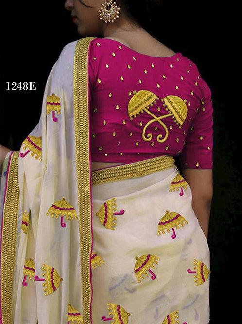 1248E Cream and Dark Purple Designer Chanderi Silk Saree