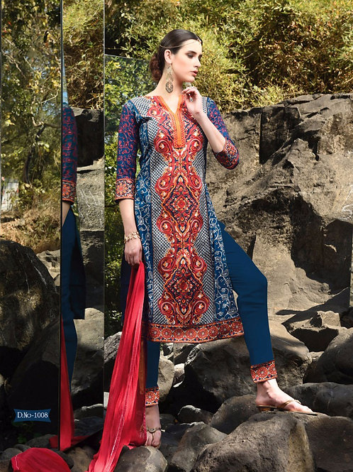 1008DarkBlue and Red Faux Georgette Party Wear Straight Suit