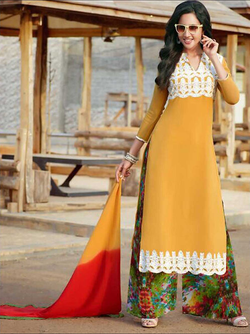 1410 Chrome Yellow and Red Plazo Suit