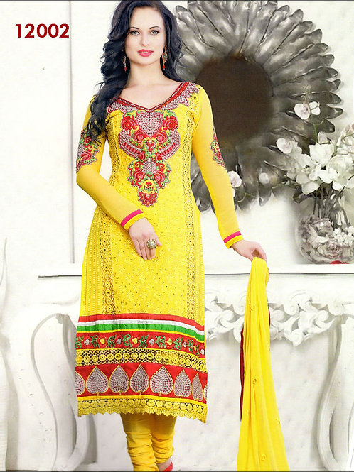 12002Yellow and Red Geogette Straight Suit