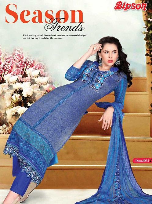 1035C Blue Cotton Straight Suit