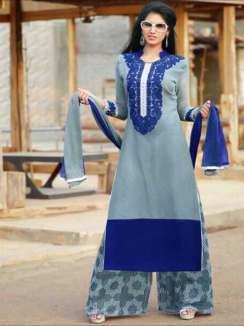 1408 Gray and Blue Plazo Suit