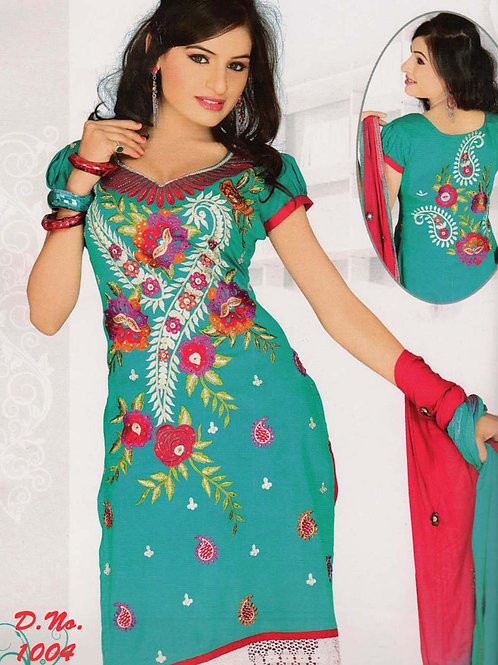 1004 Sea Green and Crimson Georgette Straight Suit