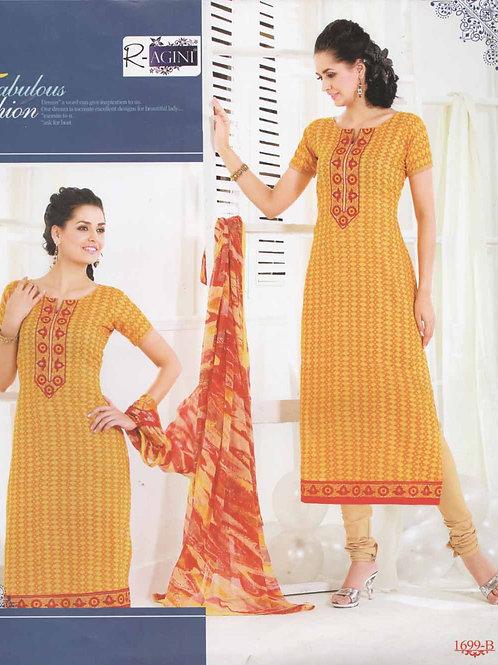 1699B Yellow and Orange Cotton Straight Suit